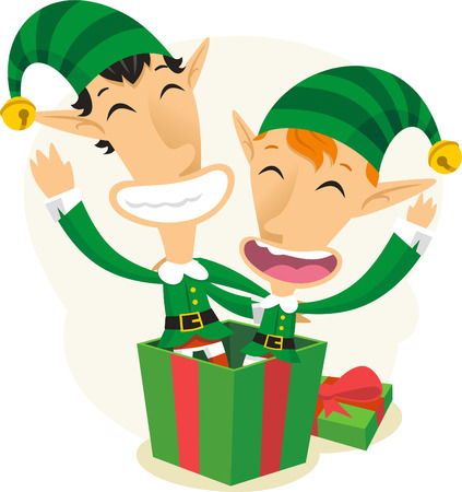Elfs coming out of a gift box Vector