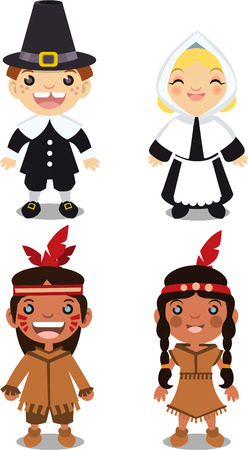 native american baby: Thanksgiving day character illustrations