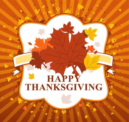 thanksgiving family: happy Thanksgiving day leaves banner Illustration