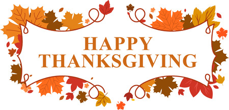 happy Thanksgiving day leaves banner Vectores
