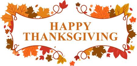 accion de gracias: feliz día de Acción de Gracias deja bandera Vectores