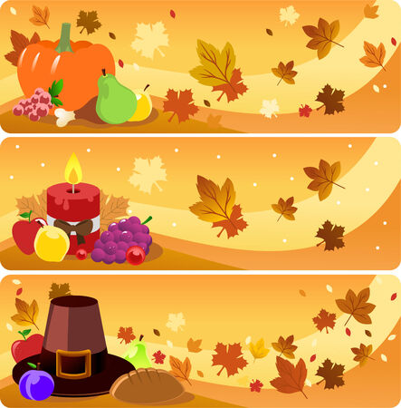 Thanksgiving day banner illustrations Illustration