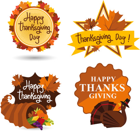 horn of plenty: Thanksgiving day illustration emblems