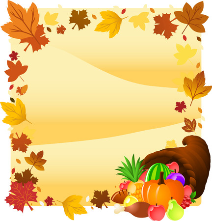horn of plenty: Thanksgiving day horn design illustration Illustration