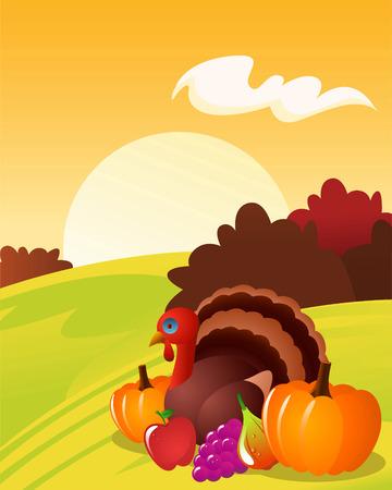 Thanksgiving landscape with turkey pumpkin grape apple Vector