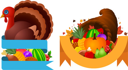 turkey cock: Thanksgiving turkey and horn banner designs