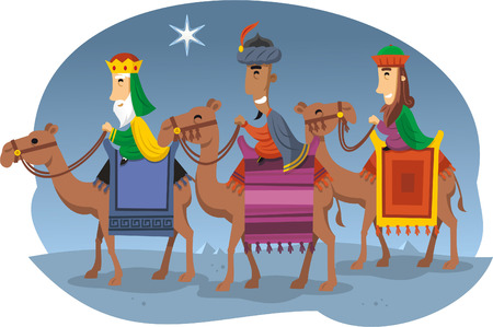 cartoon camel: Three Wise kings riding camels