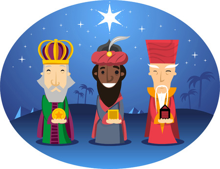 melchor: Three Wise kings looking for jesus Illustration