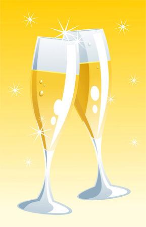 champagne celebration: Toasting illustration