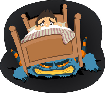 cartoon bed: Monster under the bed vector cartoon illustration
