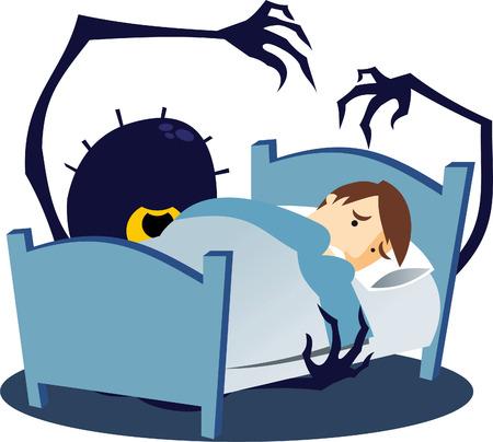 under the bed: Monster under the bed cartoon illustration Illustration