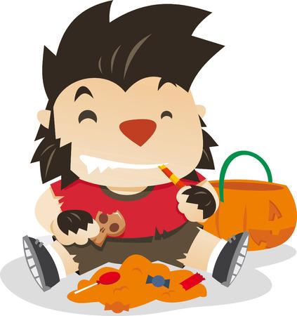Little boy dresses as werewolf in halloween night vector cartoon illustration Vector