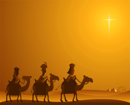three wise kings: Three Wise kings following the Star of Bethlehem Illustration
