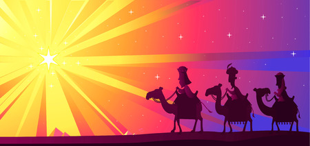 Three Wise kings following the Star of Bethlehem Stock Illustratie