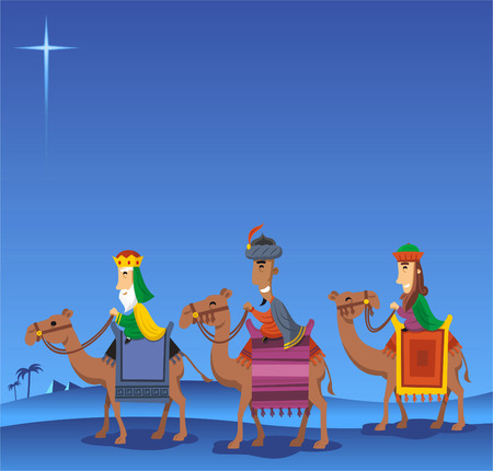 melchor: Three Wise kings following the Star of Bethlehem Illustration