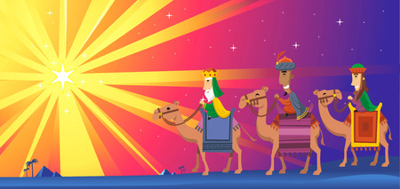 Three Wise kings following the Star of Bethlehem Illustration