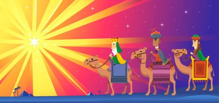 reyes magos: Tres reyes Magos siguiendo la estrella de Belén Vectores