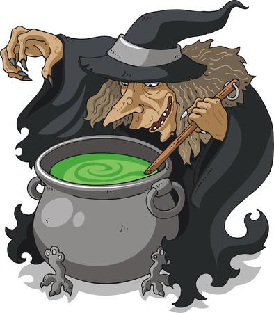 Witch stirring melting pot vector illustration Illustration