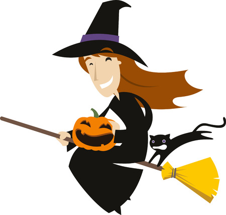 october 31: Halloween Broom Flying Witch Hat with Pumpkin and Black Cat