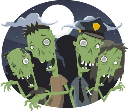Zombies Halloween Night, vector illustration cartoon.
