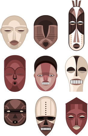 African Masks Traditional Ceremony Ritual Africa Mask, vector illustration cartoon.