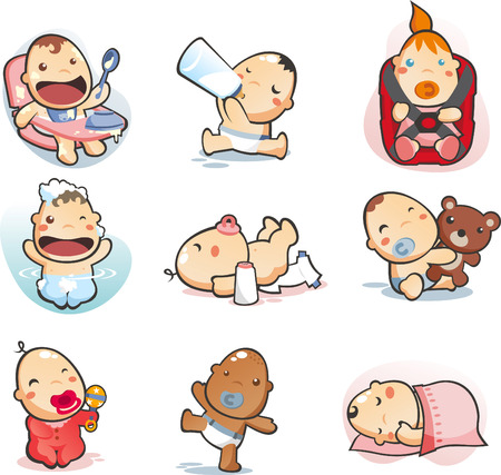 baby goods: baby collection eating drinking mil sleeping bathing playing walking Illustration