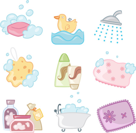 Bath Shower icons, with Soap, Bubble, Duck, Sponge, Bath Brush, Shampoo, Conditioner, Bathing Cap, Bath tub, Salt, Bath. Vector illustration Cartoon.
