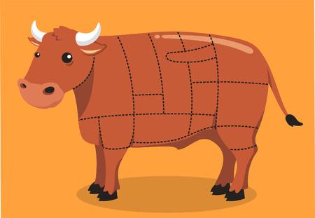 牛肉カット肉ステーキ グリル牛バーベキュー肉屋、ベクトル イラスト漫画。