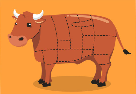 grille: Beef Cuts Meat Steak Grill Cow Barbecue Butcher, vector illustration cartoon.