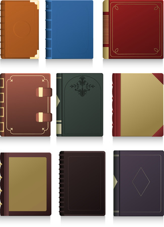 hard cover: Vintage Hard cover Book in blank icon set vector illustration.