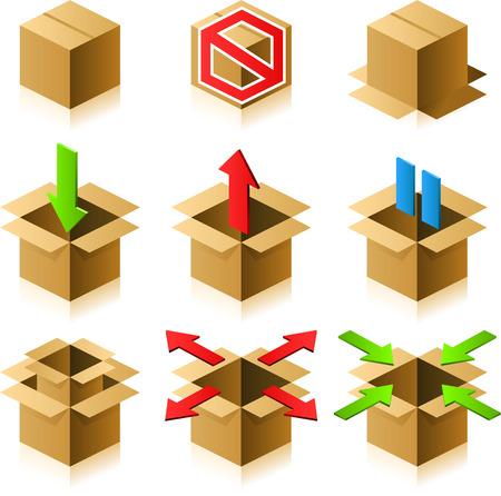 Series of cardboard box icons design set
