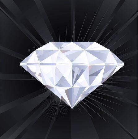 unbreakable: Big Sparkling Assed Diamond Treasure (XXXL) isolated in shining black and grey backround vector illustration. Illustration