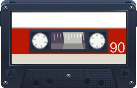 Grabadora de casete de audio retro, a 90 minutos ilustración vectorial de dibujos animados.