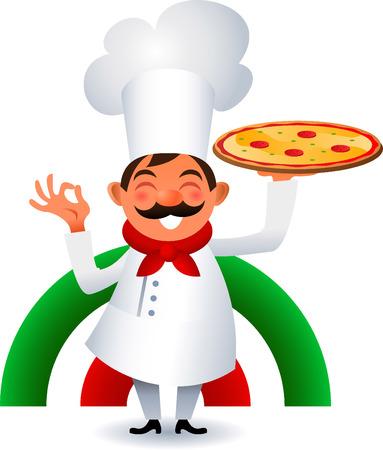 chef caricatura: Cocinero que sostiene la pizza italiana originales. Vectores