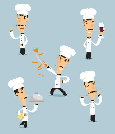 Chef Kok Set met pan, kom, roer, vuur pan vector illustratie. Ook met chef-kok hoed, chef-kok uniform, snor. Stock Illustratie