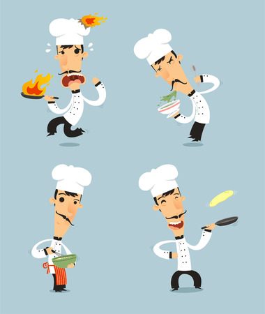 chef uniform: Chef Cook Set 2 with pan, bowl, stir, fire pan vector illustration. Also, with chef hat, chef uniform, mustache.