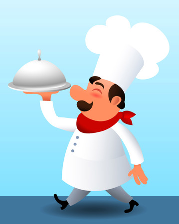 chef clipart: Cook walking with a covered dinner plate.