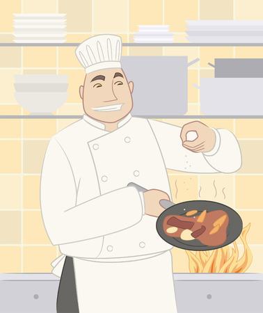 Chef cooking gastronomische schotel voedsel in een pan Stock Illustratie