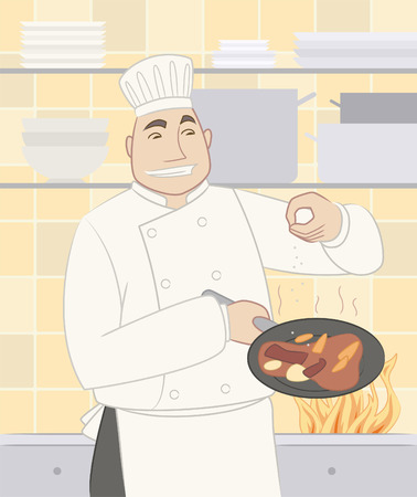 Chef cook cooking gourmet dish food in a pan