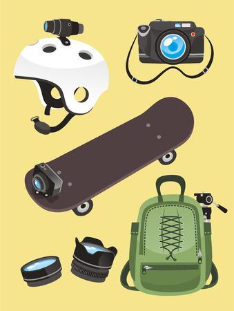 Photographer icon set Helmet camera skate go pro lens backpack, vector illustration cartoon. Vectores