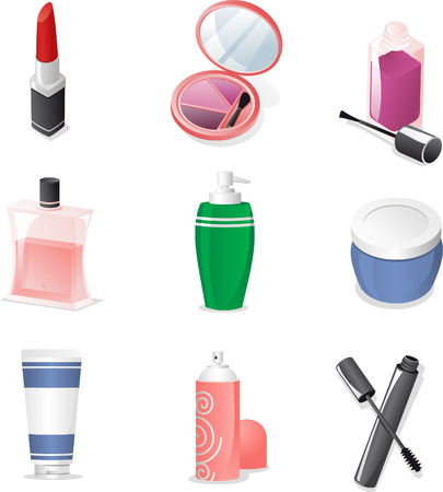 Cosmetics icon set vector cartoon illustration