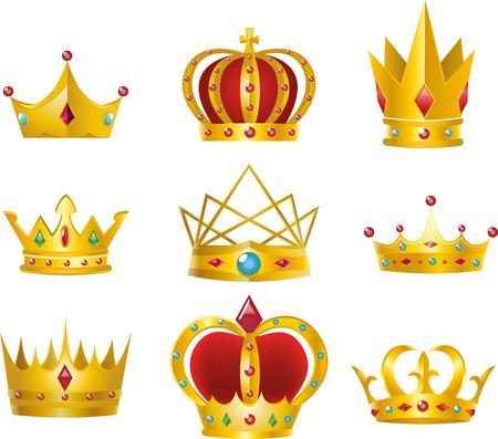 corona de princesa: Conjunto de 9 coronas de oro ilustración vectorial diseño