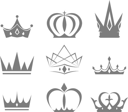 crown king: et of different styles of crowns vector designs