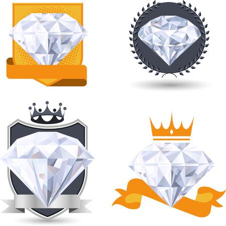 diamond shaped: Diamond Emblem Set vector illustration.