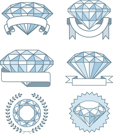 Set of Sparkling diamonds with banners Prize Award, with six different diamonds rocks in different sizes and rounded by many different types of banners awards. Vector illustration. Illusztráció