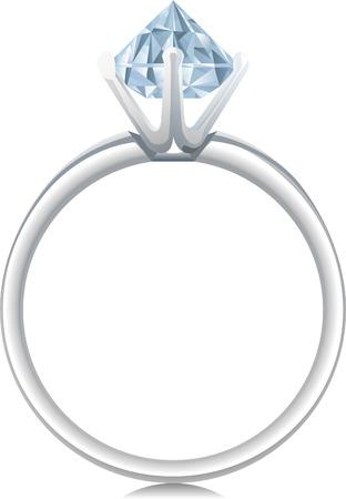 diamond shaped: Sparkling Diamond Ring Shaped Jewelry Shiny Crystal Precious Gem Jewel. Vector Illustration Cartoon.