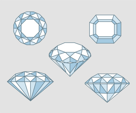 diamond shaped: Five Sparkling diamond rocks from different angles point of view vector illustration sketch.