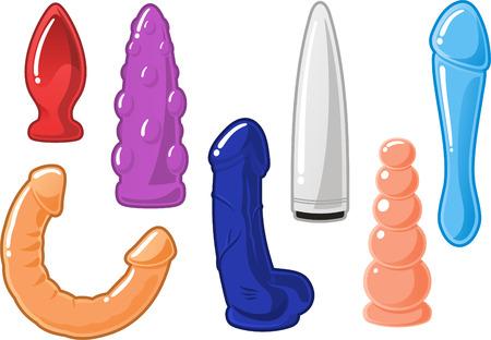 sex man: Set of sex toys dildo icons