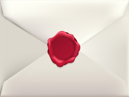 Envelope with Wax Seal vector illustration.