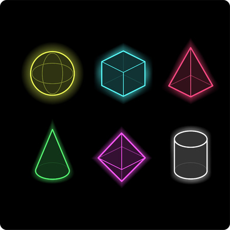 geometric neon icons vector illustrations